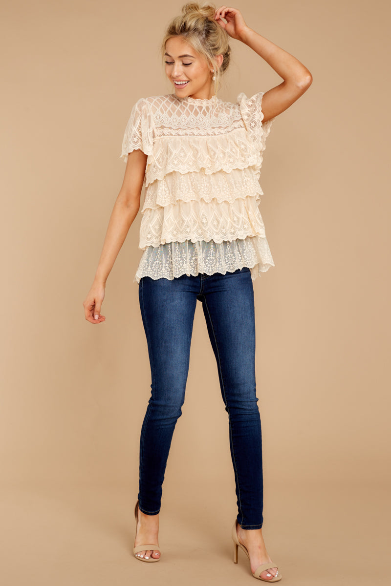 1 Reach For The Moon Cream Lace Top at reddressboutique.com