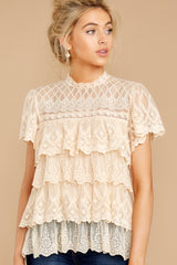 4 Reach For The Moon Cream Lace Top at reddressboutique.com