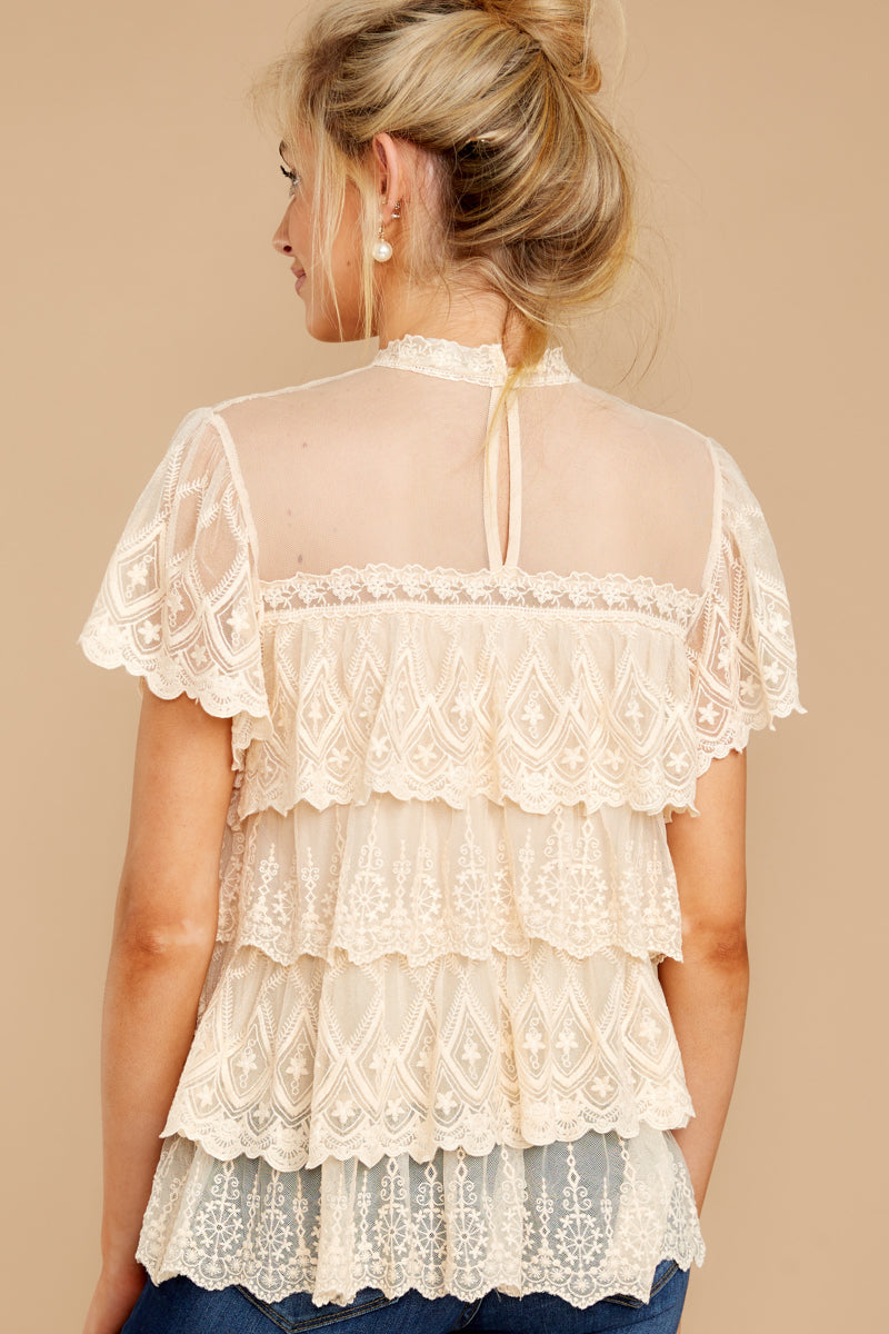 6 Reach For The Moon Cream Lace Top at reddressboutique.com