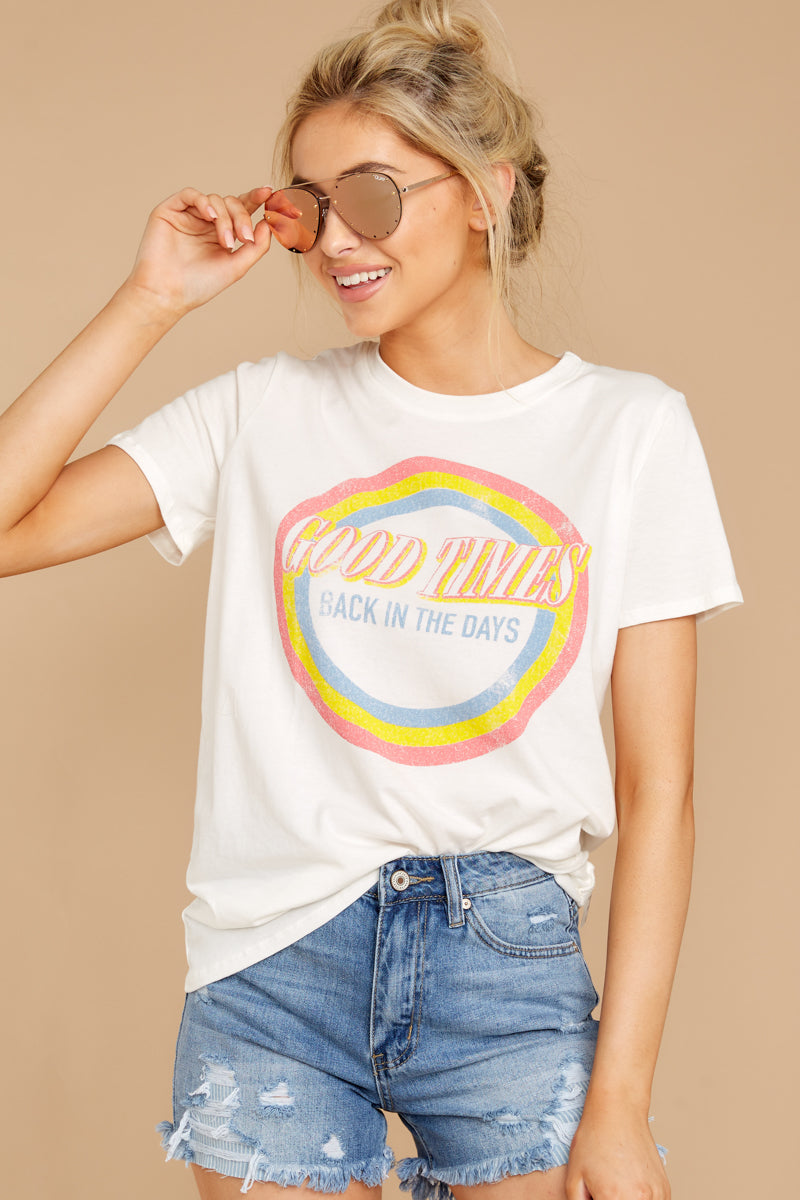 3 Good Times White Tee at reddressboutique.com