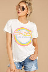 5 Good Times White Tee at reddressboutique.com