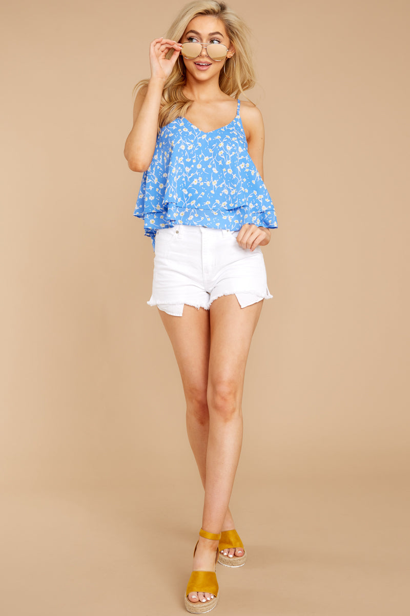 3 Everything I See Periwinkle Blue Floral Print Top at reddressboutique.com