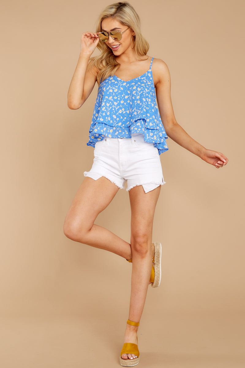 2 Everything I See Periwinkle Blue Floral Print Top at reddressboutique.com