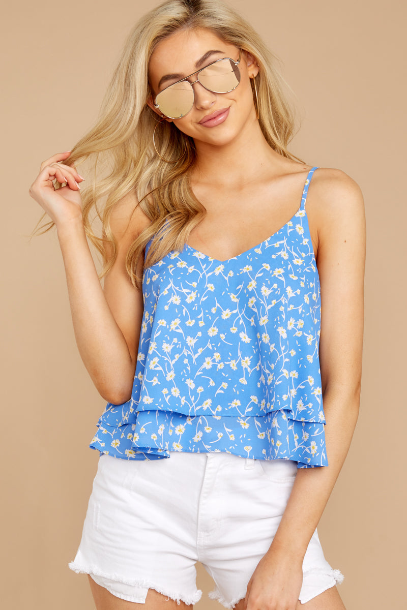 4 Everything I See Periwinkle Blue Floral Print Top at reddressboutique.com
