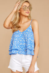 5 Everything I See Periwinkle Blue Floral Print Top at reddressboutique.com