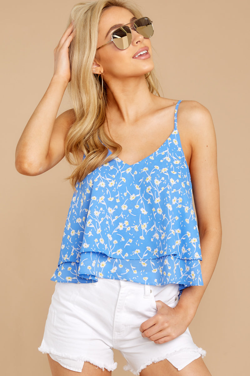 1 Everything I See Periwinkle Blue Floral Print Top at reddressboutique.com