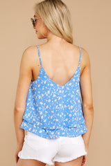 6 Everything I See Periwinkle Blue Floral Print Top at reddressboutique.com