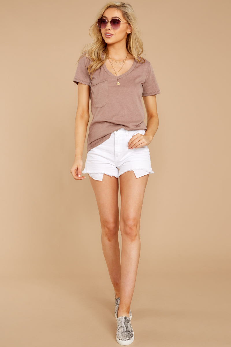 1 Pocket Tee In Taupe Grey at reddressboutique.com