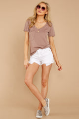 2 Pocket Tee In Taupe Grey at reddressboutique.com