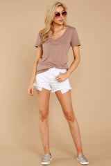 3 Pocket Tee In Taupe Grey at reddressboutique.com