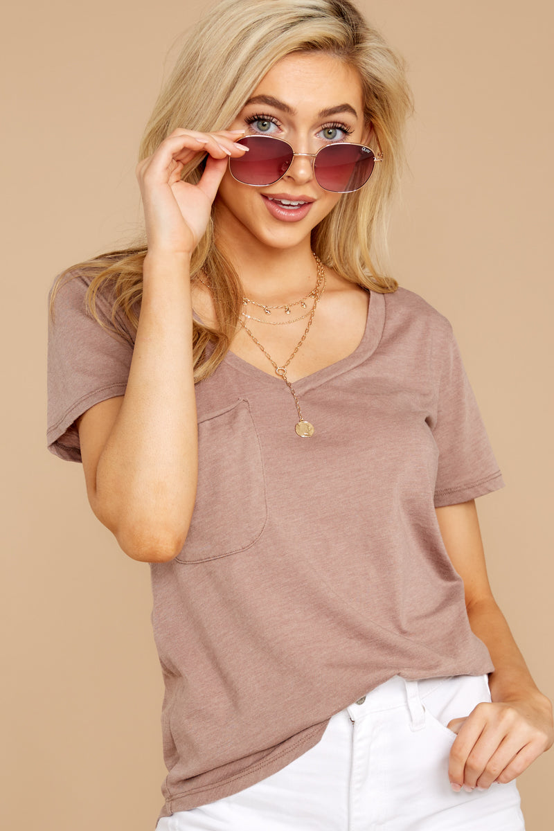 4 Pocket Tee In Taupe Grey at reddressboutique.com