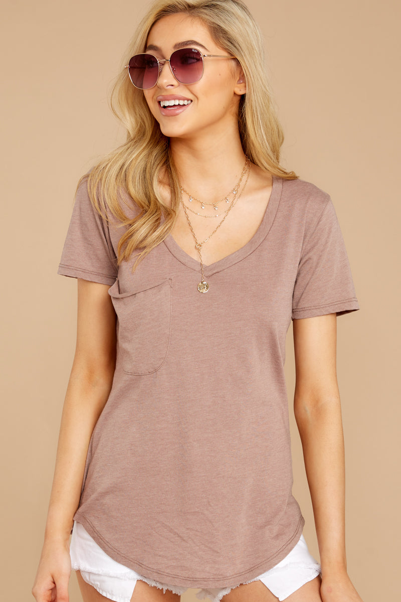 5 Pocket Tee In Taupe Grey at reddressboutique.com