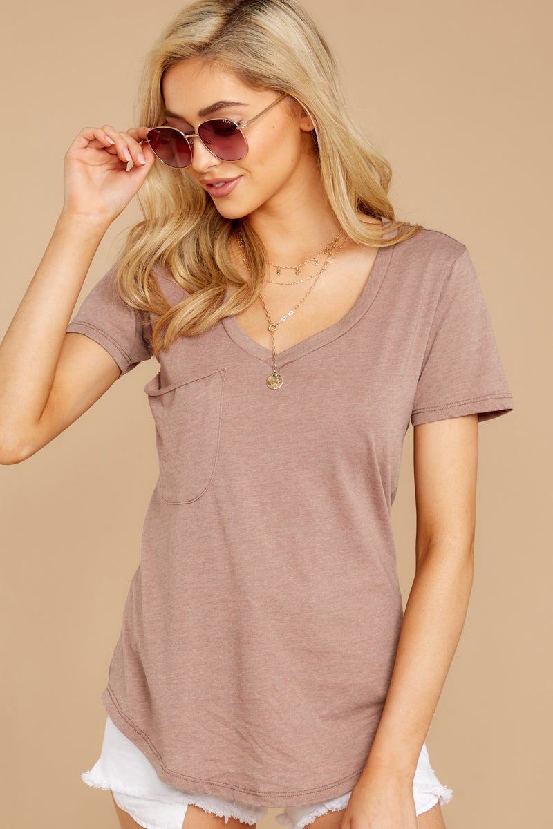 6 Pocket Tee In Taupe Grey at reddressboutique.com