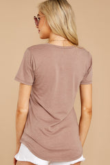 7 Pocket Tee In Taupe Grey at reddressboutique.com