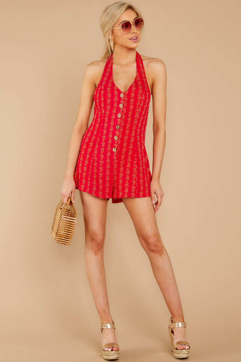 a26d0e97a02 Cute Red Printed Romper - Backless Button Up Romper - Playsuit -  52 ...