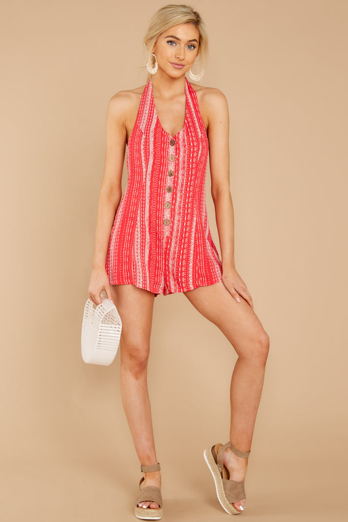 41c777a1955d Out Free Light Red Printed Stripe Romper