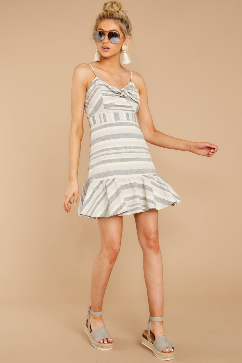 2 Happens With Time Grey Stripe Dress at reddressboutique.com