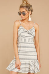 3 Happens With Time Grey Stripe Dress at reddressboutique.com