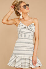 4 Happens With Time Grey Stripe Dress at reddressboutique.com