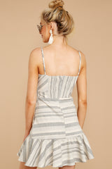 6 Happens With Time Grey Stripe Dress at reddressboutique.com