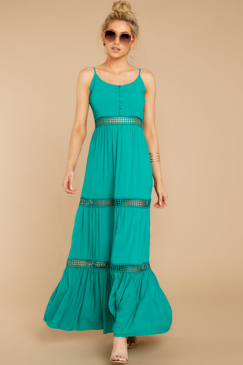3 Where She Goes Green Maxi Dress at reddressboutique.com