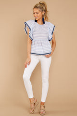 3 Games They Play Light Blue Stripe Top at reddressboutique.com