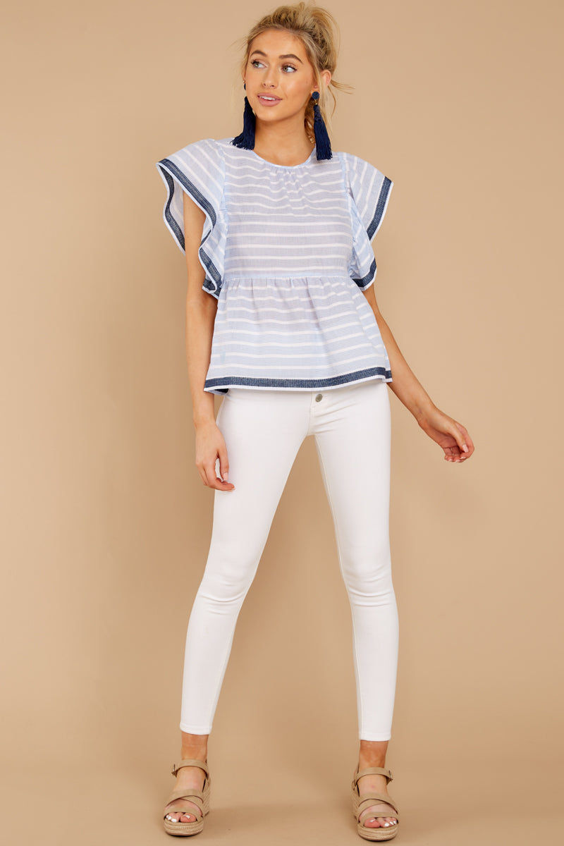 1 Games They Play Light Blue Stripe Top at reddressboutique.com