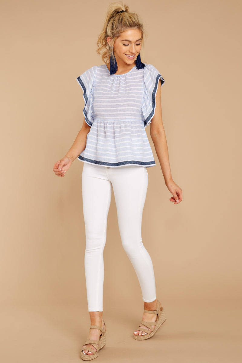 2 Games They Play Light Blue Stripe Top at reddressboutique.com