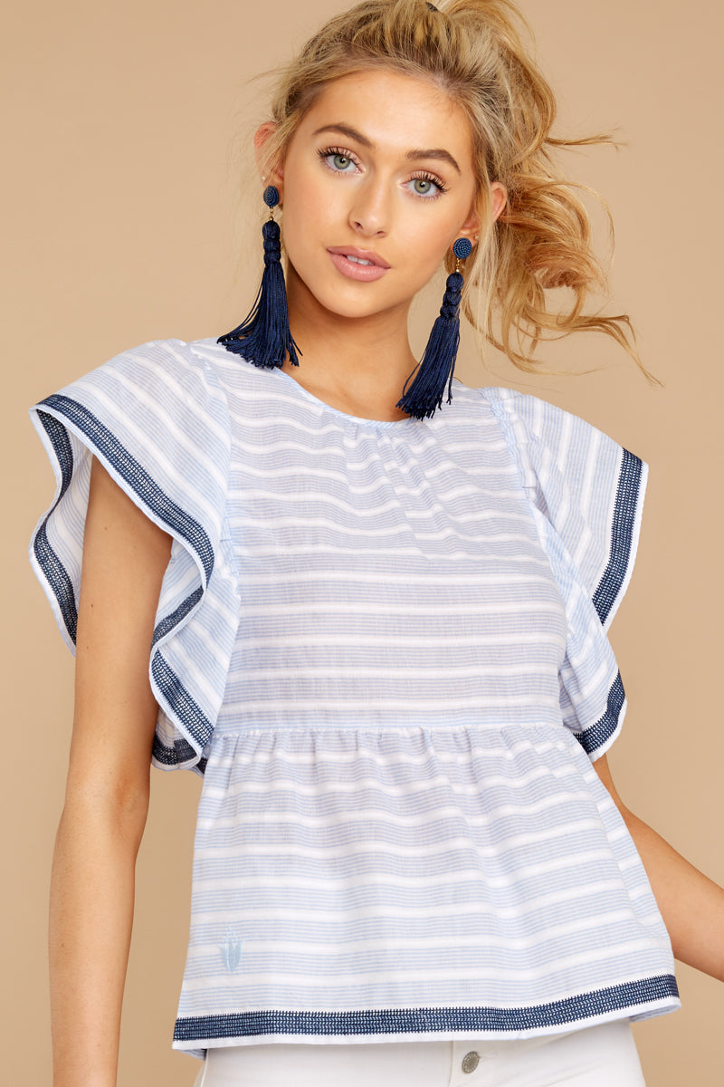 5 Games They Play Light Blue Stripe Top at reddressboutique.com