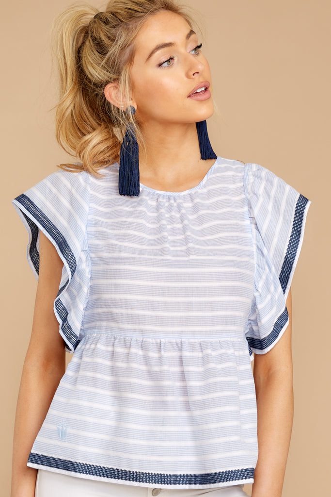 7 Carefree Attitude Pink And Blue Stripe Top at reddressboutique.com