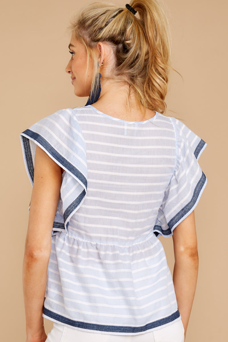 6 Games They Play Light Blue Stripe Top at reddressboutique.com
