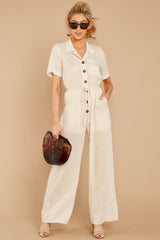 2 Ready For It Beige Jumpsuit at reddressboutique.com