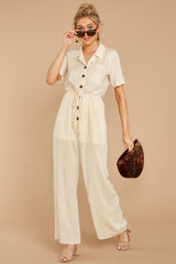 3 Ready For It Beige Jumpsuit at reddressboutique.com