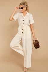 1 Ready For It Beige Jumpsuit at reddressboutique.com