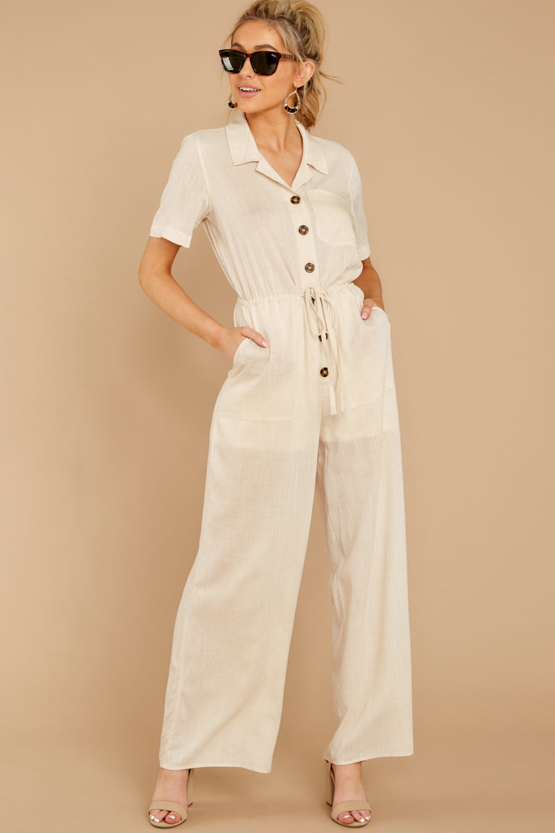 4 Ready For It Beige Jumpsuit at reddressboutique.com