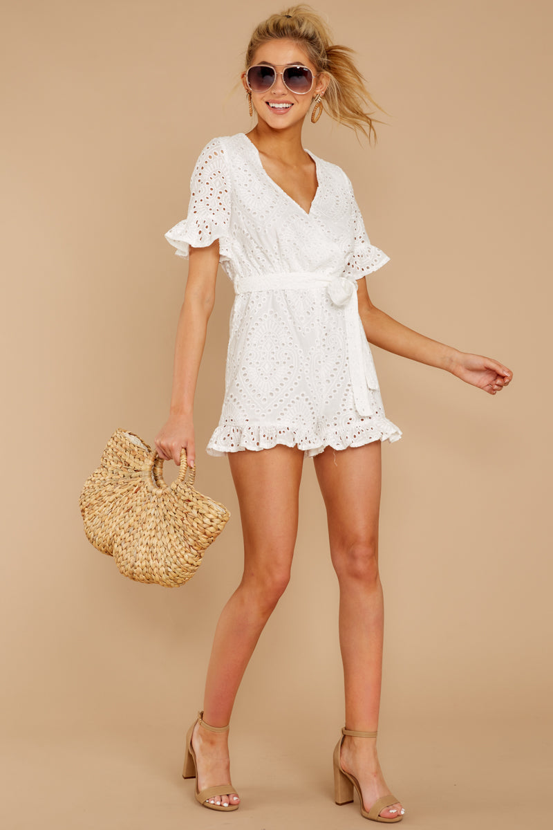 997a7bcaa92 Lovely White Eyelet Lace Romper - Short Sleeve Romper - Playsuit ...