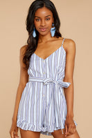 V-neck Button Front Belted Striped Print Tie Waist Waistline Romper With a Sash and Ruffles