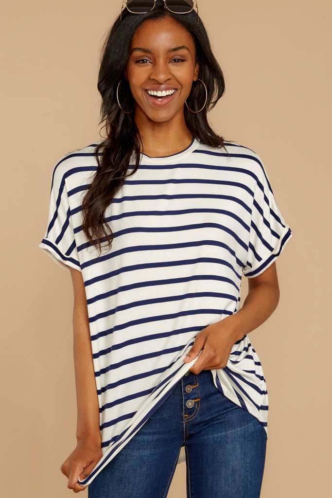Breathe In This Feeling Navy Top