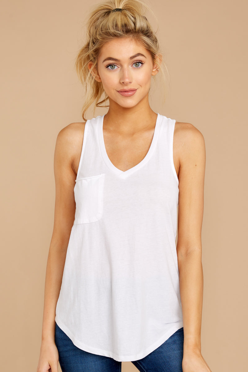 1 Pocket Racer Tank In White at reddressboutique.com