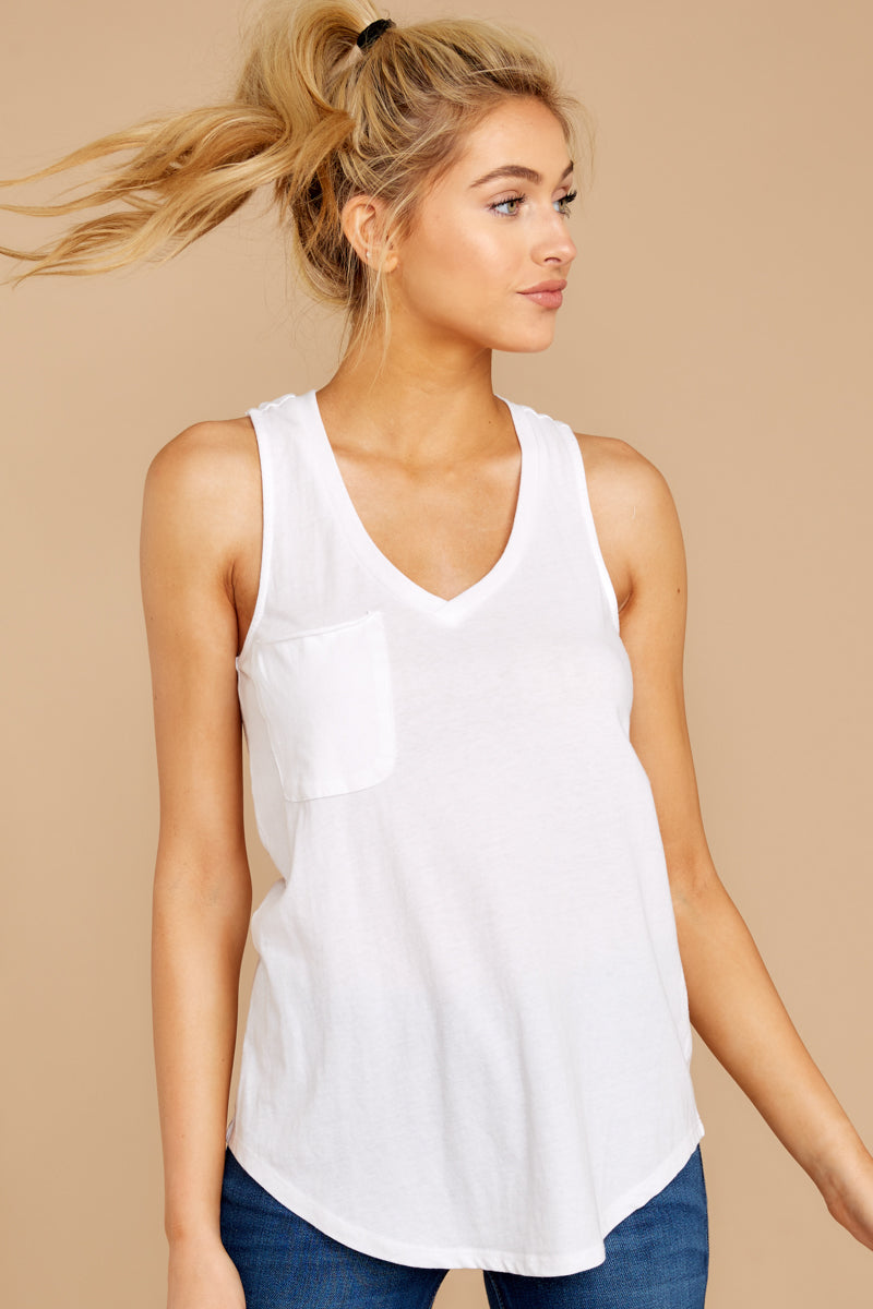 2 Pocket Racer Tank In White at reddressboutique.com