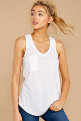 4 Pocket Racer Tank In White at reddressboutique.com