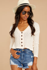 4 Way Back When Oatmeal Crop Top at reddressboutique.com