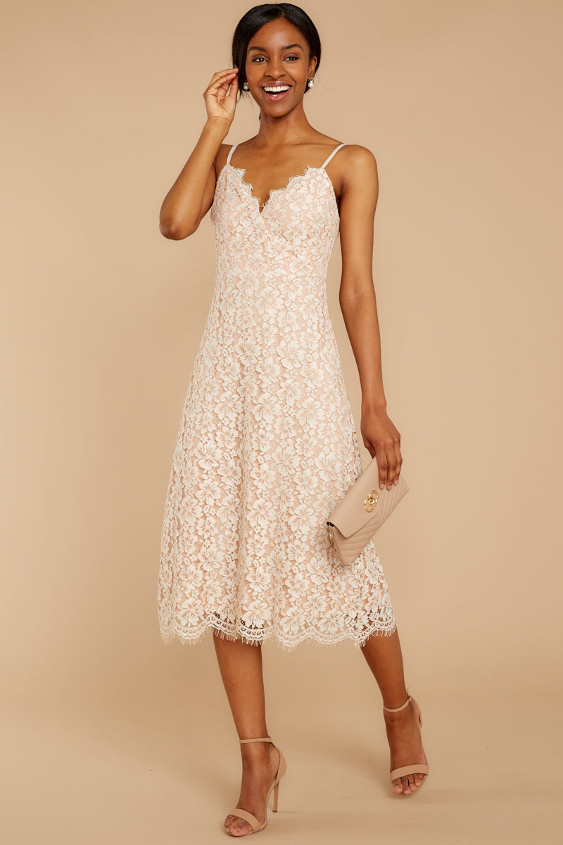 3 Smell As Sweet Cream Lace Midi Dress at reddressboutique.com