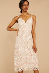 5 Smell As Sweet Cream Lace Midi Dress at reddressboutique.com