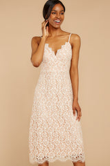 6 Smell As Sweet Cream Lace Midi Dress at reddressboutique.com