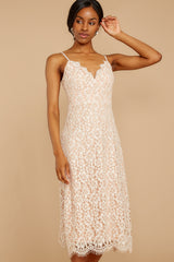 4 Smell As Sweet Cream Lace Midi Dress at reddressboutique.com