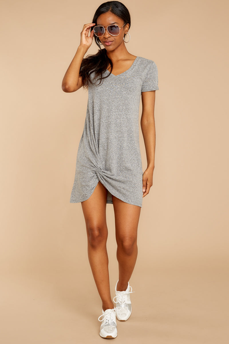 2 The Triblend Side Knot Dress In Heather Grey at reddressboutique.com