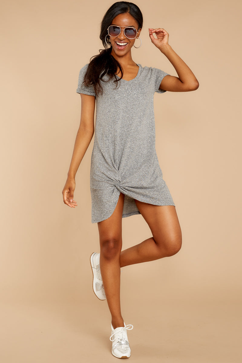 3 The Triblend Side Knot Dress In Heather Grey at reddressboutique.com