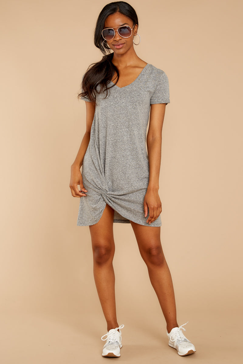 1 The Triblend Side Knot Dress In Heather Grey at reddressboutique.com