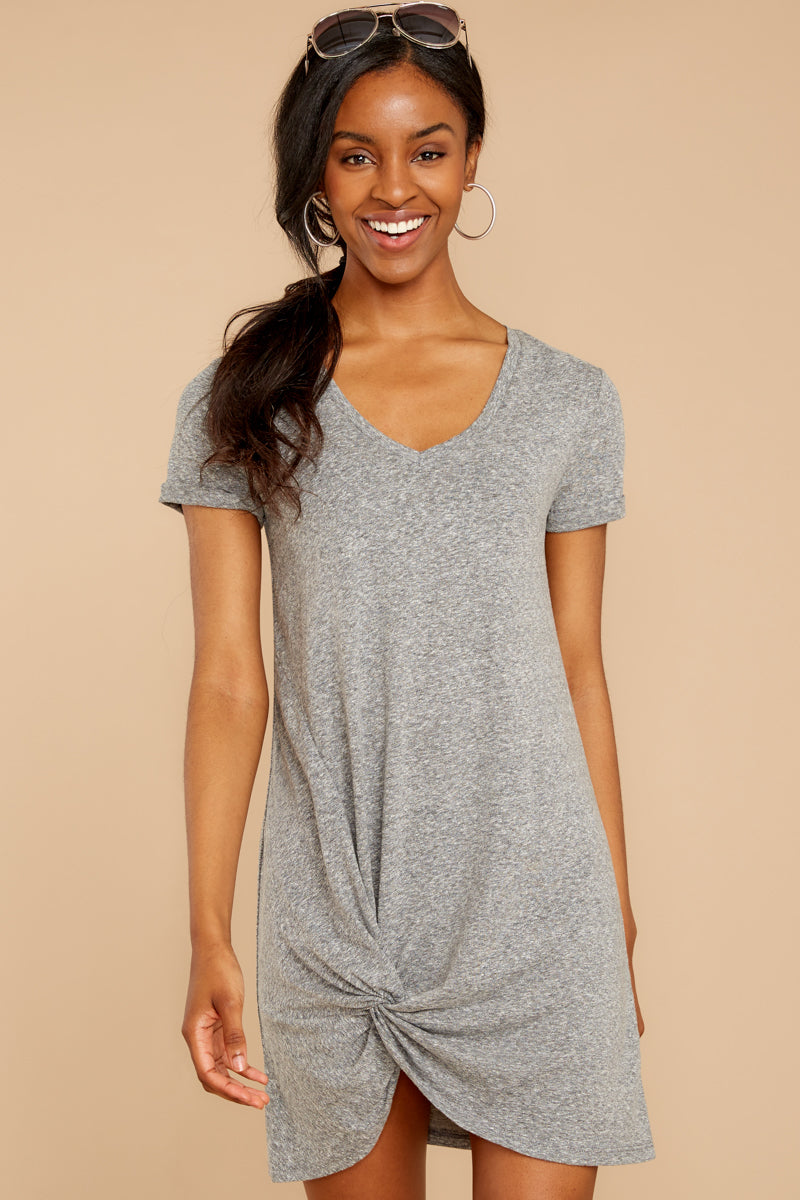4 The Triblend Side Knot Dress In Heather Grey at reddress.com